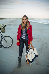 gal meets glam,blogger,socks,wellies,down jacket,red coat,maxi bag,stripes,beach,winter outfits,travel bag,jacket,shirt,jeans,hat,bag,puffer jacket,hooded jacket