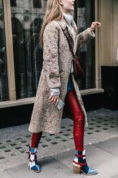 coat,tumblr,camel coat,camel,fur coat,long fur coat,pants,red pants,leather pants,boots,ankle boots,printed boots,sweater,white sweater,turtleneck,turtleneck sweater,bag,brown bag,crossbody bag