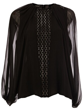 blouse long black top