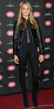 jacket,pants,model off-duty,cara delevingne,see through,blazer