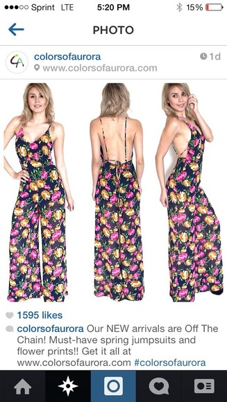 pants jumpsuit romper flowers