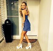 short dress,blue dress,little dress,dark blue,prom,prom dress,white shoes,white heels,semi,semi formal,blonde hair,tumblr girl,semi formal dress,dark blue velvet dress,style,white high heels,yellow,dress
