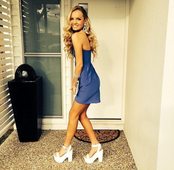 little dress prom dress short dress blue dress dark blue prom prom dresses 2014 white shoes white heels semi semi formal blonde tumblr girl semi formal dress little dress dark blue velvet dress style white high heels yellow