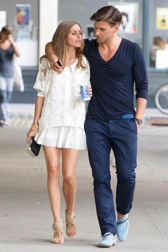 shirt olivia palermo streetstyle style olivia new york city collar shirt lace shirt white shirt white lace shirt