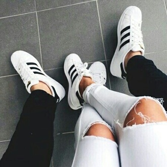 shoes adidas adidas shoes adidas originals adidas superstars sneakers white black ripped jeans white ripped jeans casual