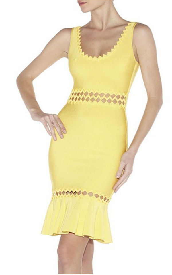 bandage dress yellow prom dress 2015 hollow out dress dress