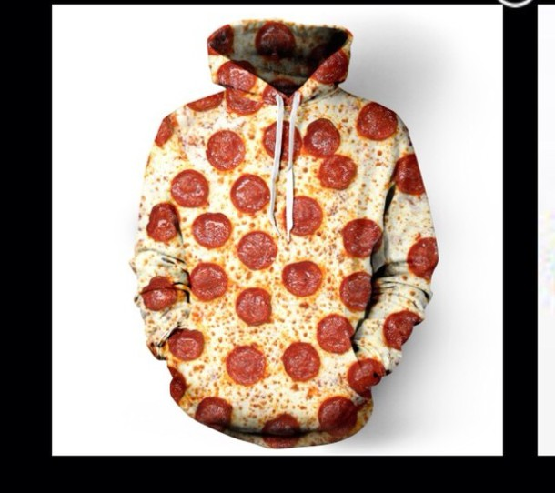 sweater pizza jacket hoodie funny food fashion hungry junkfood nomm clothe clothes style t-shirt sweatshirt