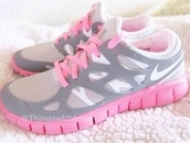 shoes,nike,nike running shoes,nike free run,pink,grey,white,cute,sportswear,nike frees,nike sneakers,sneakers
