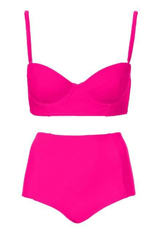 swimwear hot pink pink pink swimwear pink swimwear high waisted bikini bikini retro bikini vintage
