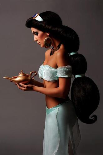 pants genie pants jasmine aladdin disney princess costume halloween blue bandeau aqua blouse
