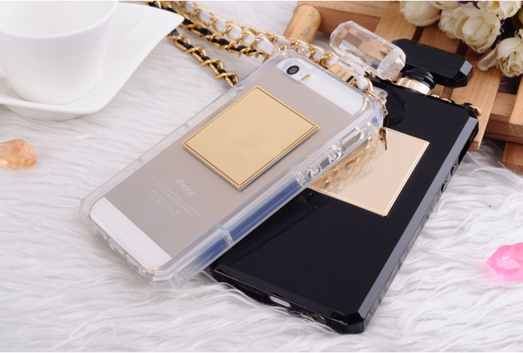 Perfume Bottle Luxury iPhone 5 / 5s case with Leather chain TRANSPARENT - Women's Accessories