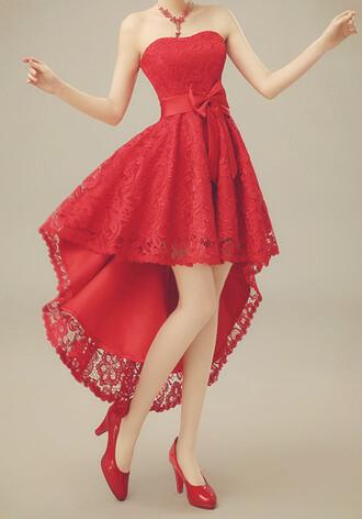 ribbon short prom dress