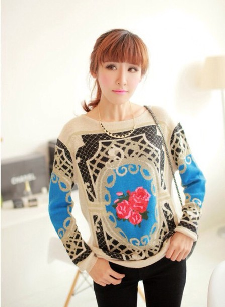 sweater floral fall sweater fall outfits beige blue fashion outfit