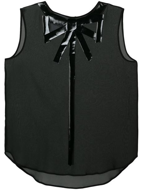 blouse bow sleeveless women black silk top