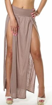 skirt,maxi skirt,tan,navy,double slit,double split skirt,double split maxi skirt,maxi