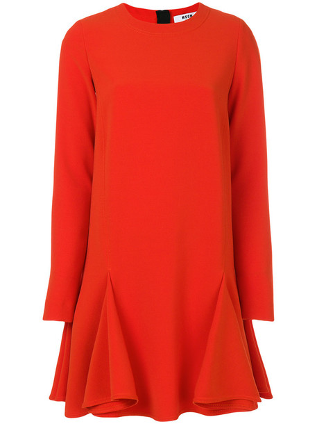 MSGM dress long sleeve dress long women spandex yellow orange