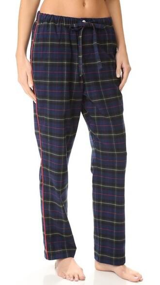 pants pajama pants plaid navy flannel