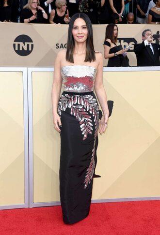 dress olivia munn red carpet dress strapless metallic sag awards