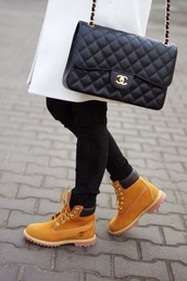 bag,chanel inspired,shoes,shorts,timberlands,timberland boots shoes