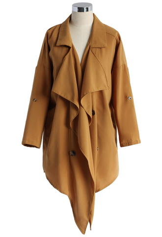 coat wavy waterfall trench coat in mustard chicwish waterfull coat trench coat