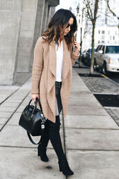 crystalin marie,blogger,t-shirt,cardigan,jeans,shoes,bag,jewels,beige cardigan,winter outfits,handbag,givenchy bag,boots,thigh high boots,tumblr,camel,camel cardigan,sweater,white sweater,grey jeans,black boots,over the knee boots,black bag,fall outfits