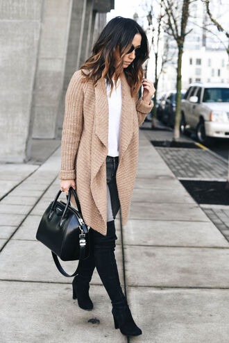 crystalin marie blogger t-shirt cardigan jeans shoes bag jewels beige cardigan winter outfits handbag givenchy bag boots thigh high boots tumblr camel camel cardigan sweater white sweater grey jeans black boots over the knee boots black bag fall outfits