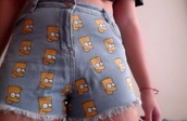 shorts,bart simpson,High waisted shorts,the simpsons,denim