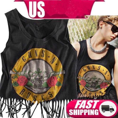 Sexy Womens Black Guns N Roses Vintage Tank Top Blouse T Shirt Vest Size M | eBay