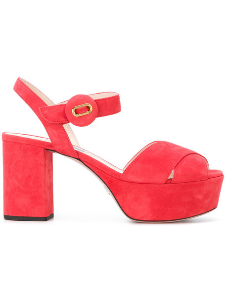 Prada women sandals platform sandals leather suede red shoes