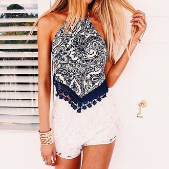 blouse shorts shirt blue and white halter top paisley blue cropped