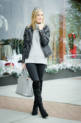 life with emily blogger sweater jacket bag shoes jewels