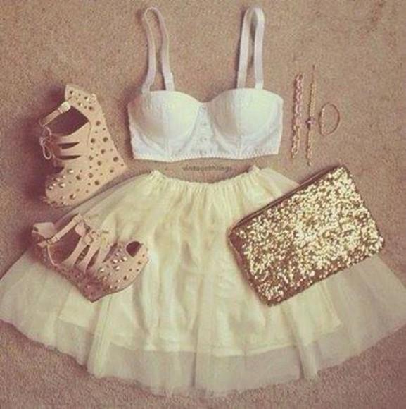 girly gold sequins crop tops bag layered bralette bra heels studded shoes sequin bag