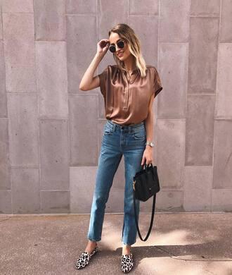 top silk top silk denim jeans blue jeans shoes loafers leopard print bag handbag sunglasses