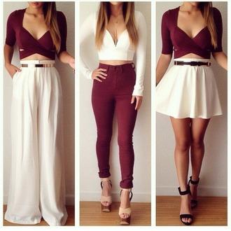 skirt white shirt top