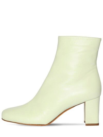 MARYAM NASSIR ZADEH 70mm Agnes Leather Ankle Boots Light Green
