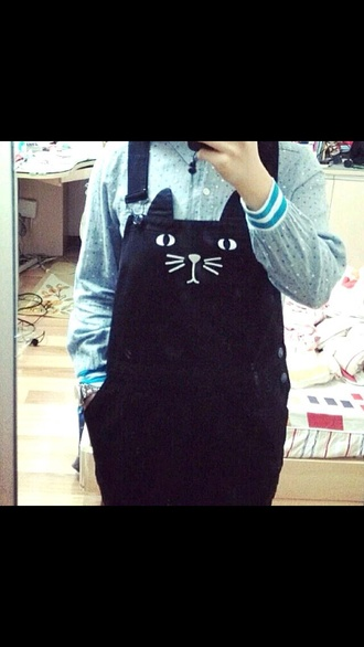 romper denim cats overalls blue cute unique
