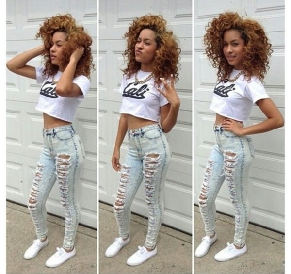 pants shirt jewels shoes curly hair gotta love them cali love ❤❤