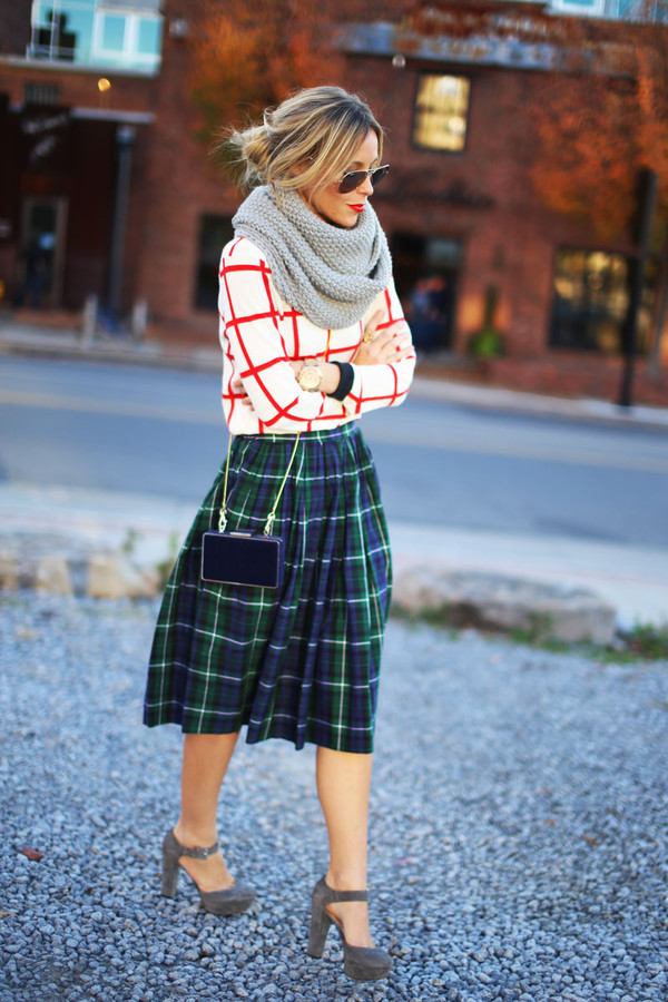 happily grey sweater skirt shoes bag jewels
