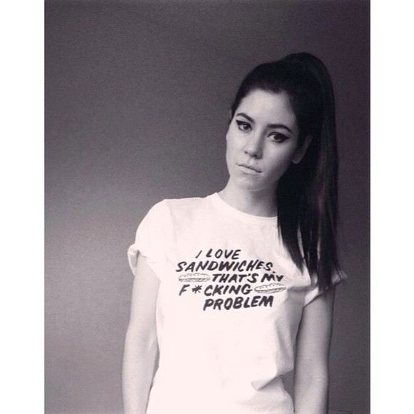 white t-shirt t-shirt quote on it marina and the diamonds