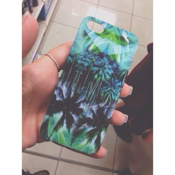 phone jewels phone case tropical green case plants exotic