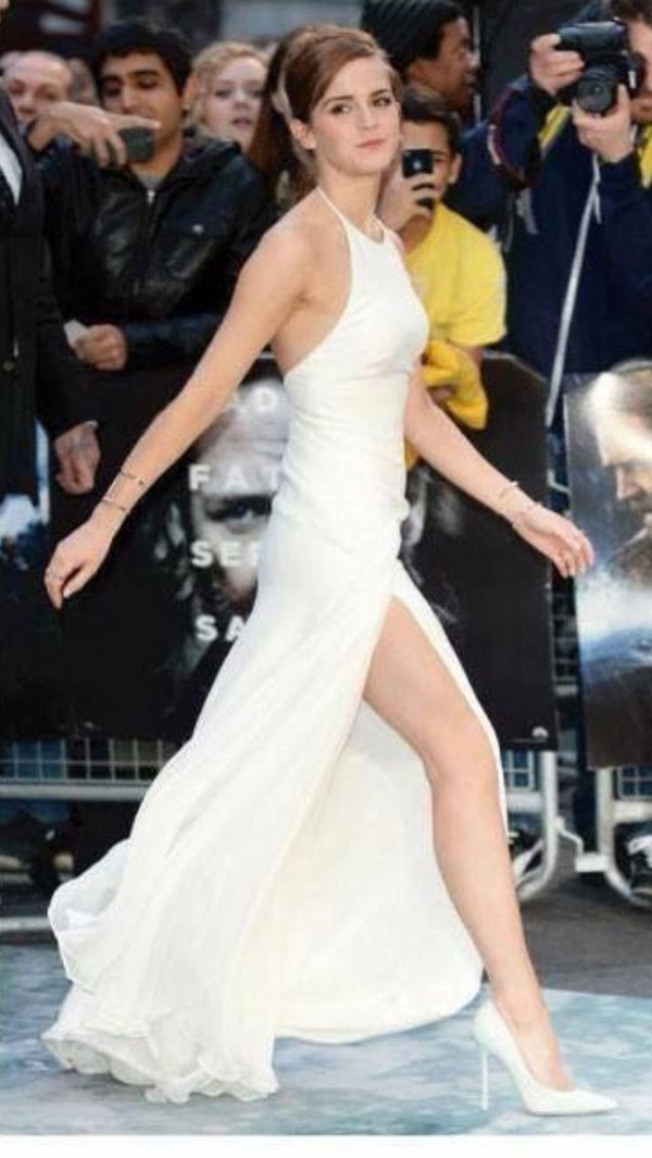dress white dress prom dress long prom dress white emma watson slit long prom