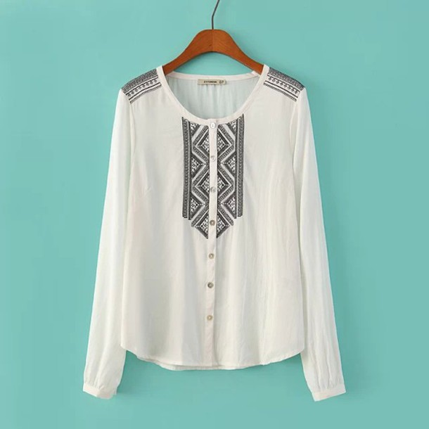 blouse white shirt white blouse black embroidery ethnic embroidered embroidered shirt