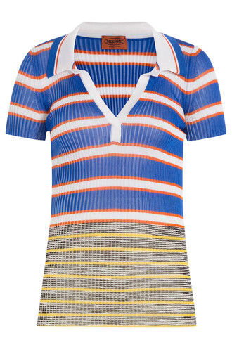shirt polo shirt knit multicolor top