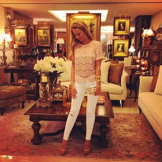 shirt creme light pink crotchet jeans shoes