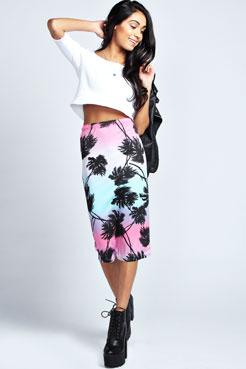 Mila Palm Tree Print Midi Skirt