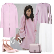 look de pernille,blogger,coat,shoes,sweater,pants,bag,jewels,all pink wishlist,all pink everything