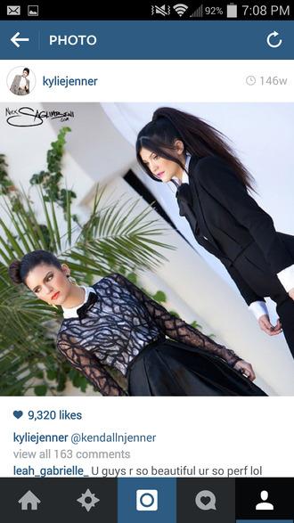 black pants blouse black blazer white blouse black bow tie kylie jenner