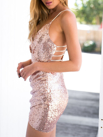 dress chiclook closet sexy glitter glitter dress prom dress bodycon dress sexy dress rose gold