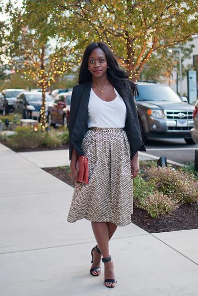 midi skirt alicia tenise blogger jacket t-shirt jewels blazer pouch
