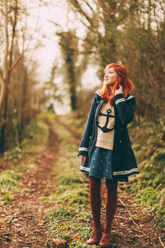 the clothes blogger coat sweater skirt sailor anchor